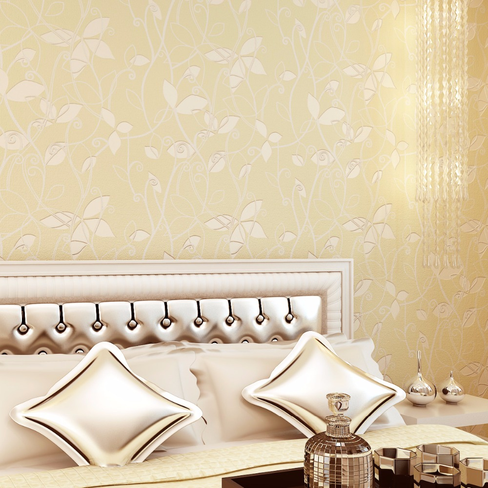 Beibehang 3d 葉牧歌壁紙暖かいピンク寝室寝室フル床ソファテレビ