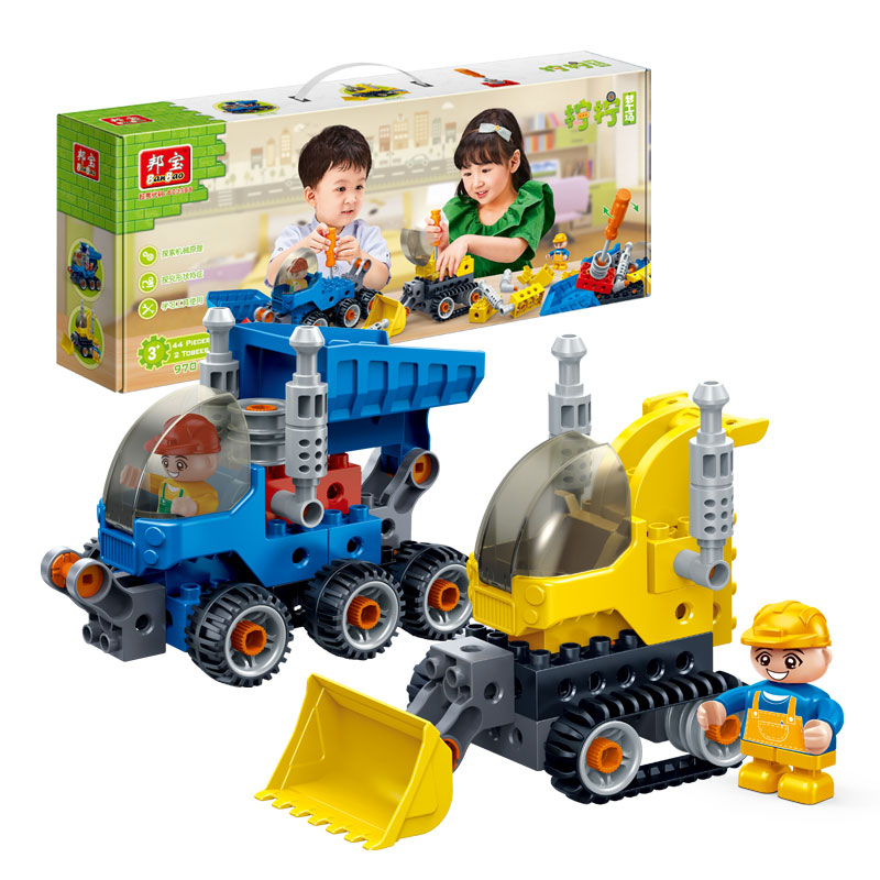 BanBao 9701 City Engineering 2 in 1 Bulldozer Unloading Lorries Large Particle Bricks Educational Blocks Model Building Kids Toy banbao 8531 construction engineering