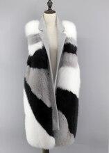 2016 Brand New Fashion Korea Style Women Luxury Real Genuine Fox Fur Double Faced Wool Vest  Coat Jacket  Waistcoat Sleeveless
