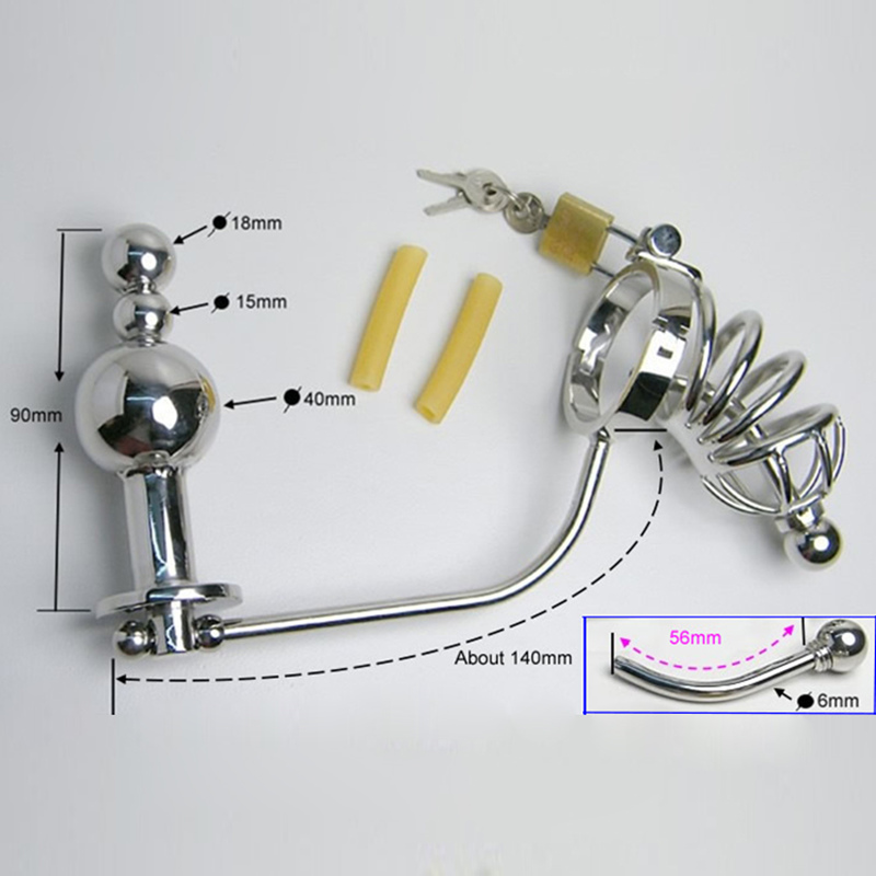 Steel Male Chastity Device Catheter Cock Cages Men's Virginity Lock Penis Ring Conjoined Anal Plug Adult Sex Toys 5 size steel male chastity device catheter cock cages men s virginity lock penis ring conjoined anal plug adult sex toys 5 size
