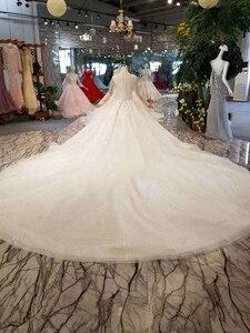 Image 2 - LSS156 przezroczysta suknia ślubna illusion o neck długie rękawy zasznurować powrót uroda vestidos de novia baratos con envio gratis