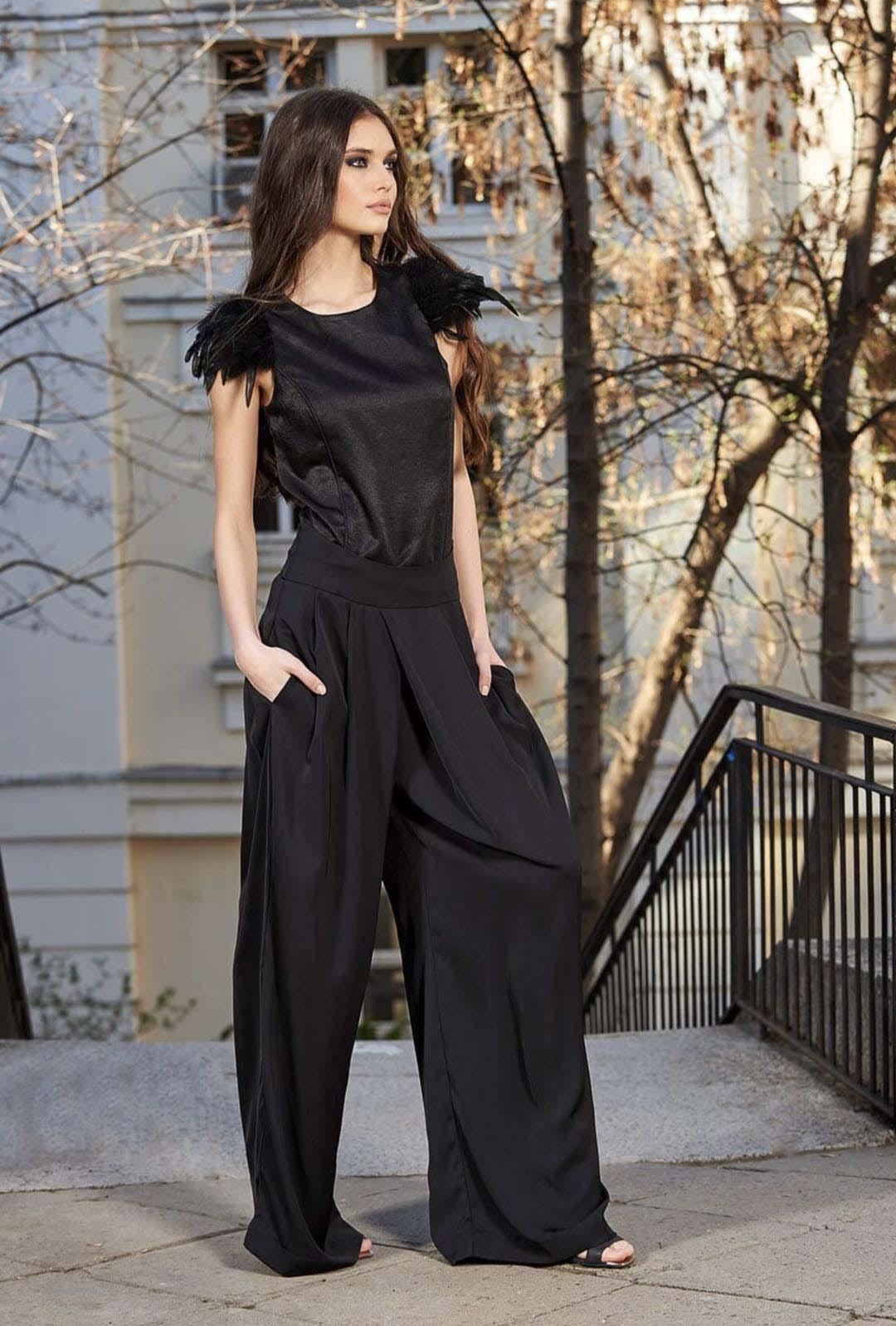 Black Loose High Waist Crop Casual Pants Women One Size Wide-Leg Pants Plus Size Custom Made Women Pants