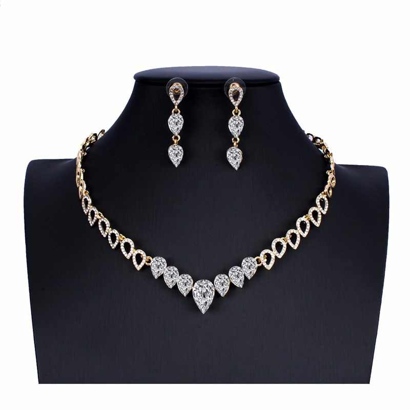 jiayijiaduo Crystal wedding jewelry set charm women's dress accessories small necklace earrings classic gift Gold color 2018 new