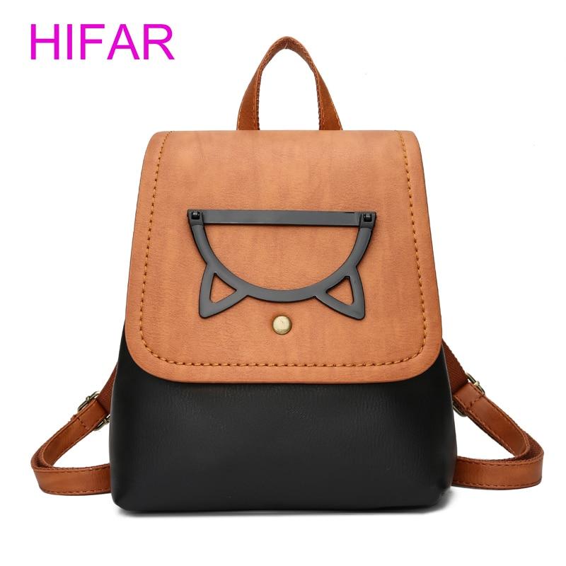 HIFAR Backpack Women Shoulder Bags Cute Bagpack for Girl 2018 Fashion Mini Backpacks Pu Leather school bags for teenage girls кепка printio hillary 2016