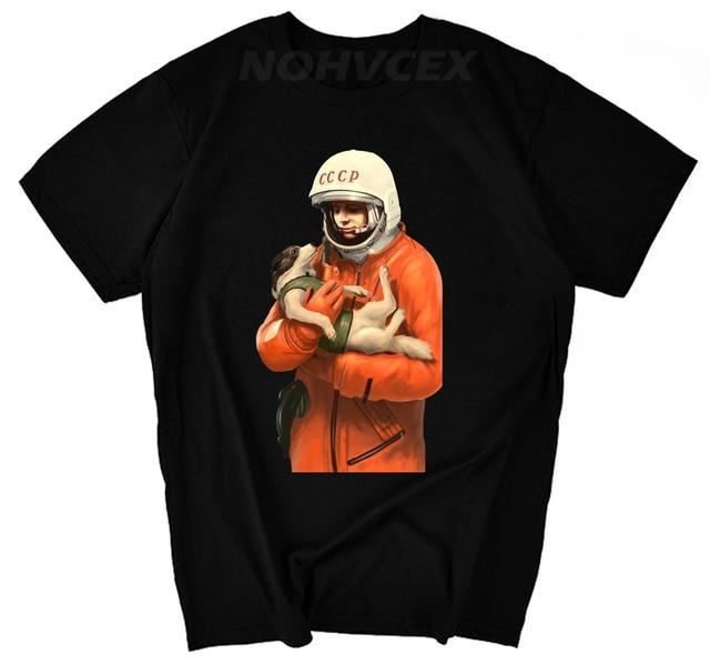 fa1ee8cbe YURI GAGARIN laika CCCP T Shirts Men USSR Soviet Union Man Printed gosha t- shirt Moscow Russia Mens Tees Cotton Ringer Tops