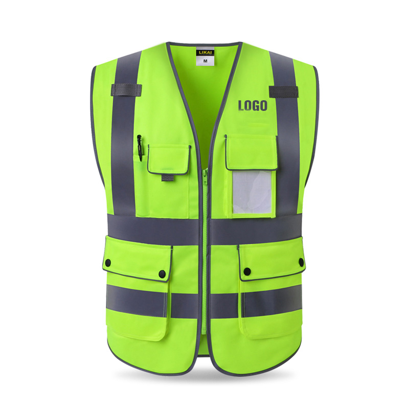 High Visibility Workwear Safety Vest Logo Printing Workwear Safety Gilet Security Waistcoats With Reflector Stripes New Arrival