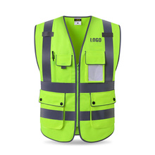цены High visibility workwear safety vest logo printing workwear safety gilet Security waistcoats with reflector stripes New arrival