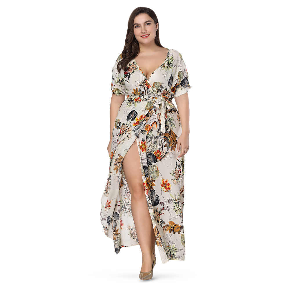 0e2be7de09d98 summer Women Floral Long Dress Chiffon Loose Plus Size ladies dress Sexy  Plunge Neck Short Sleeve Dresses Robe Femme vestido