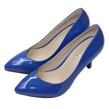 จัดส่งฟรี2016ใหม่แฟชั่นสตรีปั๊มรองเท้าขนาดใหญ่34-41หนังแท้รองเท้าส้นสูงสีดำสีเหลืองสีม่วงSMYCN-DA0012