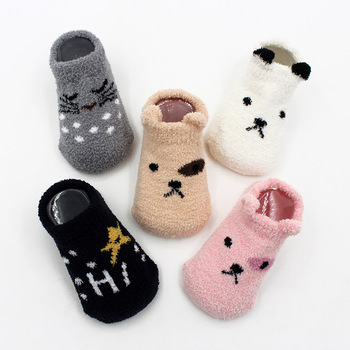 Non-slip Baby Socks Autumn Winter Coral Fleece Socks Warm Toddler Boy Girls Floor Socks Infant Clothing Accessories Thicken 1