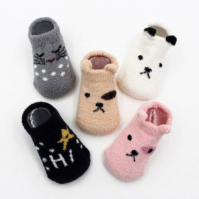 Non-slip Baby Socks Autumn Winter Coral Fleece Socks Warm Toddler Boy Girls Floor Socks Infant Clothing Accessories Thicken 1