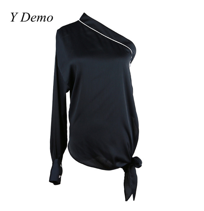 2017 Sexy Single Shoulder Strap Lantern Sleeve Chiffon Shirt Women Soft Buttons Blouse Ladies Beach Shirts