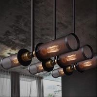RH Loft Style Industrial Double Side Pendant Lamp Metal Net Dining Room Light Bar Light Fixtures Free Shipping