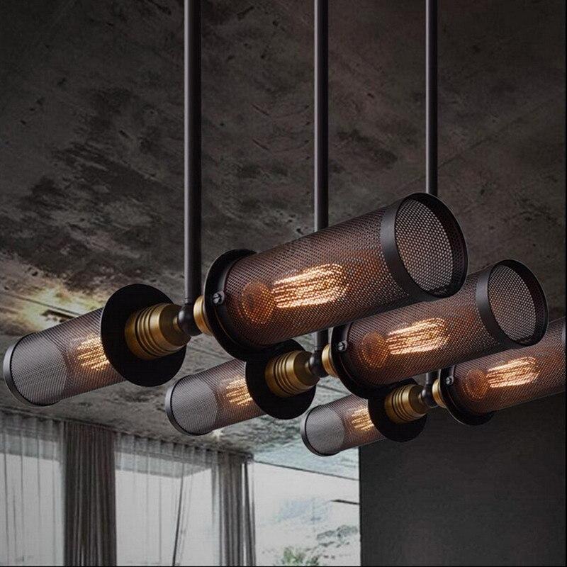 RH Loft Style industriel Double côté suspension lampe en métal Net salle à manger barre lumineuse luminaires livraison gratuite