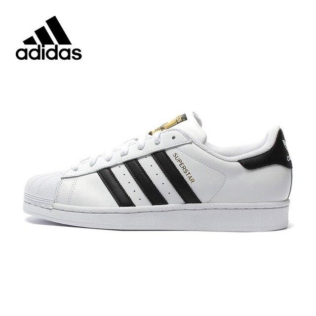 Adidas oficial superestrella trébol de las mujeres y los hombres que andan en monopatín Zapatos de deporte Zapatillas de deporte bajas de C77124 tamaño EUR U