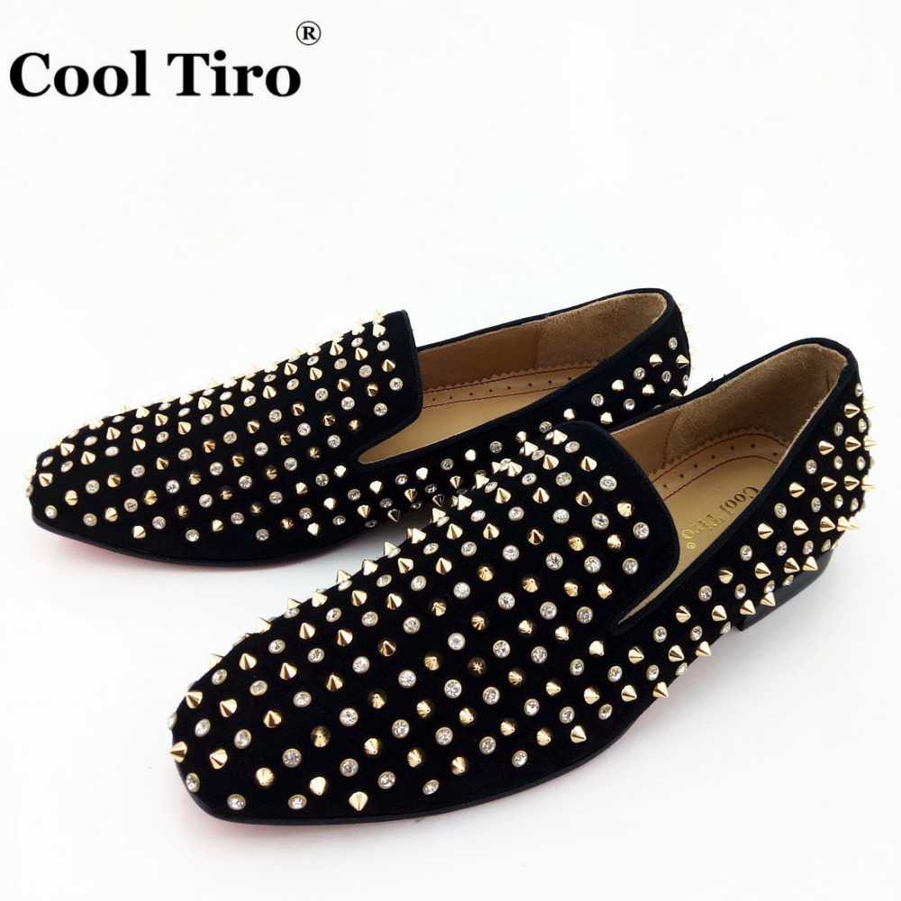 COOL TIRO Black Suede Gold Spikes and Rhinestones Men Loafers Smoking  Slipper Shoes Wedding Party Dress - Online Get Cheap Black Dress Shoes With Gold Men -Aliexpress.com