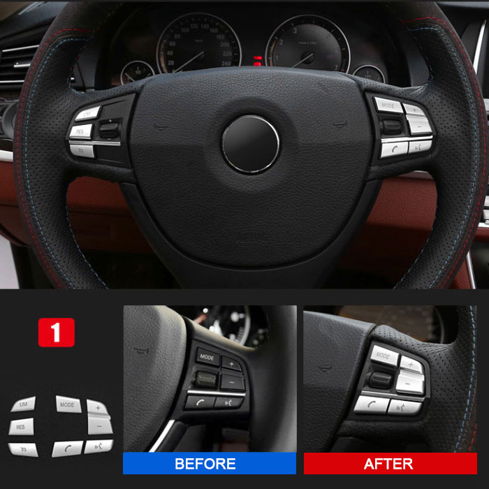 for BMW 1 2 3 4 5 7 Series X1 X3 X5 F10 F20 F30 7pcs Car Styling ABS Chrome Steering Wheel Button Switch Covers Trim only LHD