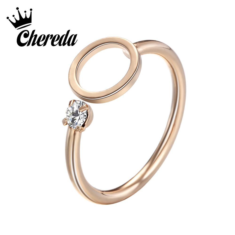 Chereda Golden Hollow Round Female Finger Ring Adjustable Small Crystal Statement Rings Jewelry