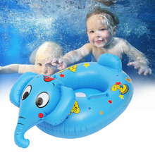 Multifunctional Inflatable Baby Soft Cute Boat Kids Seat Blue Elephant  Swim Pool Ring Float