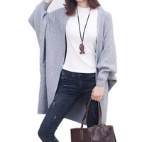 2017 New Large Size Women S Sweater Art Loose Long Sleeved Bat Cardigans Knitted Coat Long