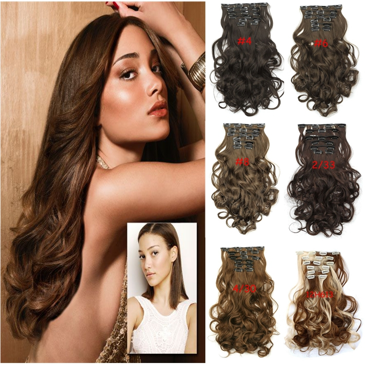 Best Quality 7pcs/set Clip Hair Extensions Long Wavy Soft Synthetic Women 20inch 50cm 130g - Ustyle hair store
