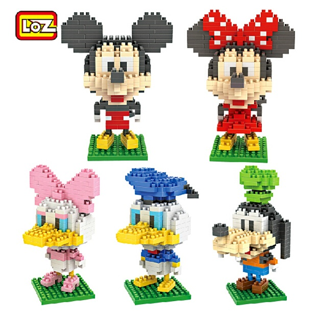 LOZ Diamond blocks MicroDIY Building Toy Minnie Cartoon Figure Golf Anime Juguetes Mouse Xmas Kids Gifts 9413-9417