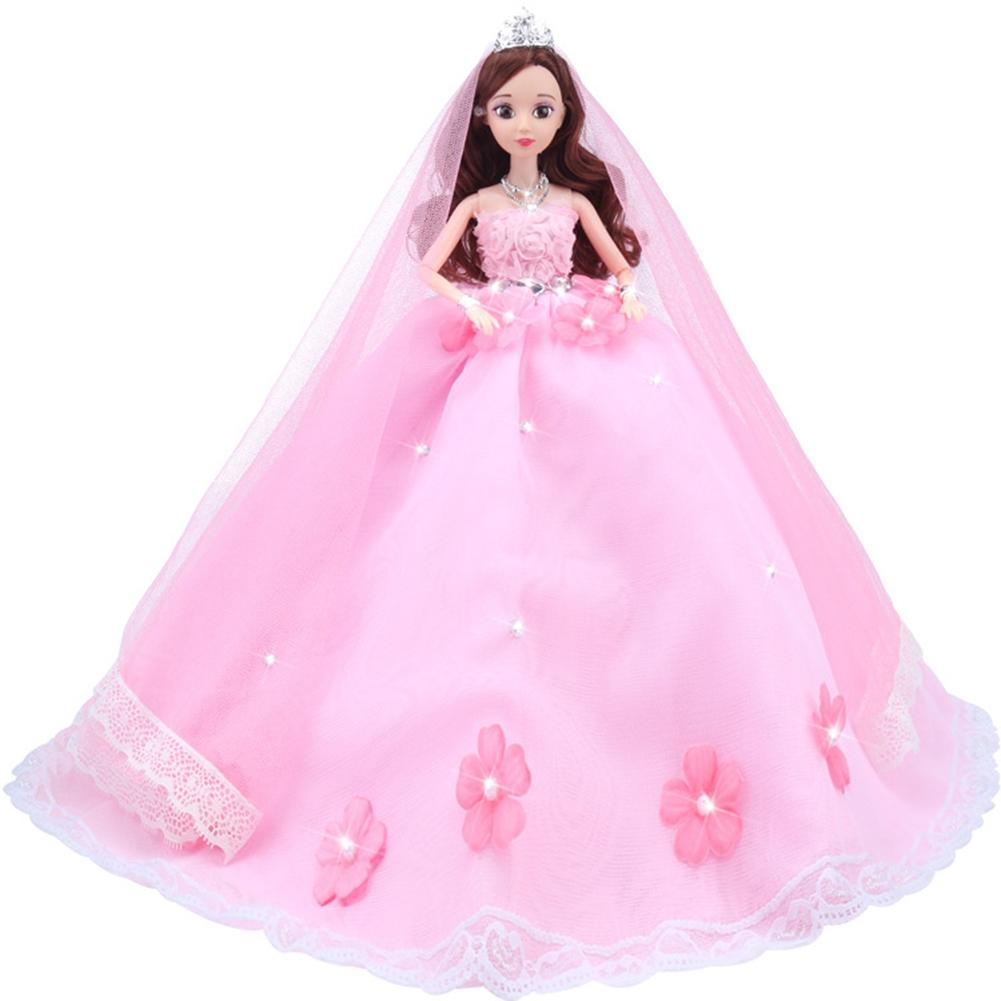 LeadingStar Gorgeous Pink Flower Pearl Wedding Dress with Veil ...