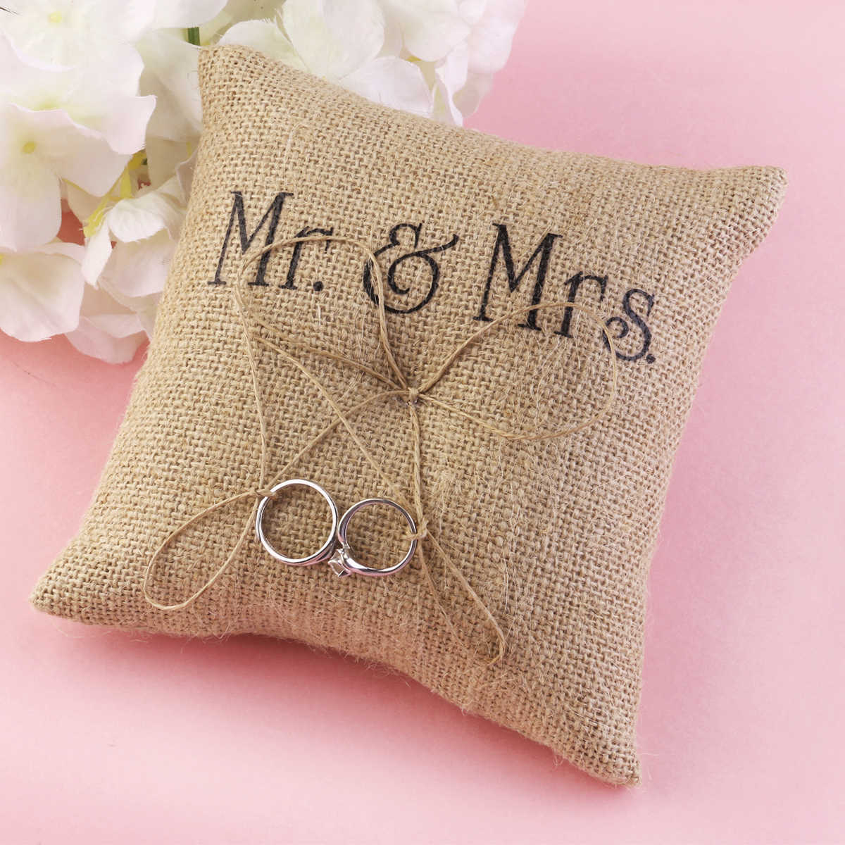 Romantic Bridal Wedding Ceremony Jute Pocket Ring Bearer Pillow Cushion Wedding Birthday Party Bathroom Decoration
