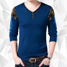 New arrival 2017 Autumn Men Casual long sleeve T-shirt men V neck men's render knitted Sweater Tops Tees men's clothing MQA11