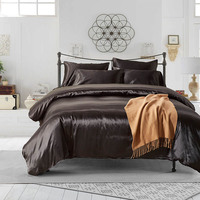 Black Satin Silk Home Hotel Bedding Set Duvet Cover Set Bed Sheet Pillowcase Plaids Twin Queen King Bed Linens Home Textiles