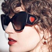 PAWXFB New Cat Eye Sunglasses Women Men Retro Oversized Plastic  Brand Designer heart Frame Sun glasses Oculos de sol UV400