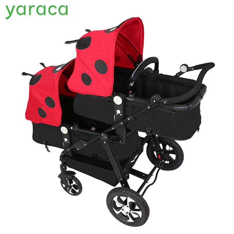 Twins Stroller For Newborns Baby Carriage For Twins Prams Cute Ladybug Panda Pattern Baby Stroller Lightweight Double Strollers bello outdoor double twins stroller foldable light baby carriage prams buggy with rain cover