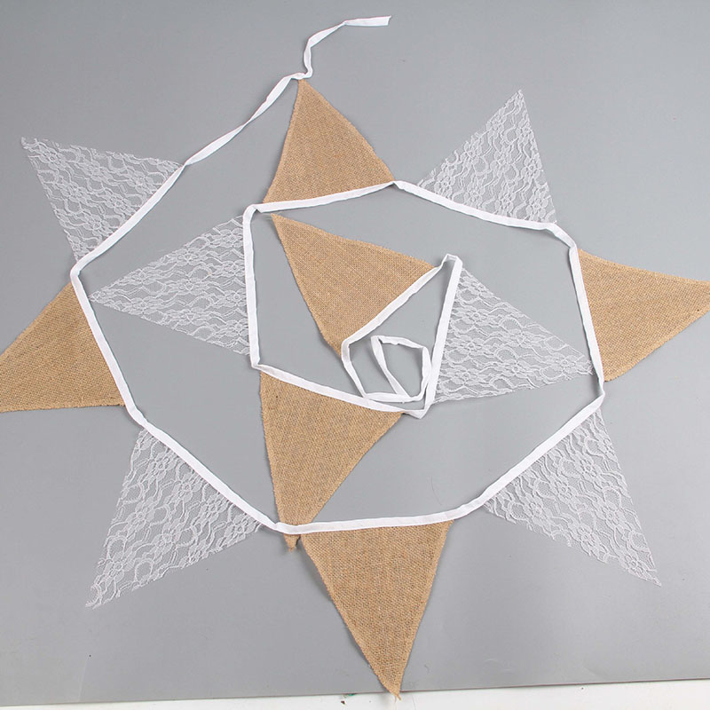 Lace Linen Pennant Hanging Strip Wedding Party Decoration Line Stripped Flags Photo Props Wedding Party Favors 2019 Hot Sale