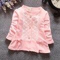 4 цвет 2016 новая коллекция весна и осень новорожденных девочек кардиган мило лук девочки пальто о-образным вырезом детская одежда розовый casaco infantil