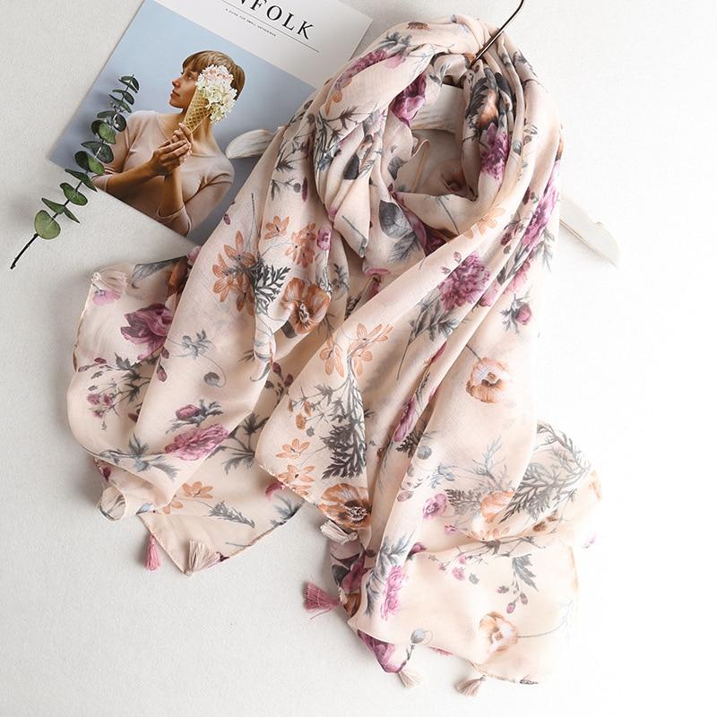 VISROVER Cactus Summer Scarf Women Viscose Shawl Ladies Tropical Print Hijab Scarf Beach Top Dress Flamingo Scarves Wholesales