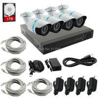 Nowa Oferta ELP Zestaw 4CH NVR P2P Plug and Play 720 P HD odkryty IR Night Vision Bezpieczeństwo Kamera IP Bullet CCTV System 1 TB HDD