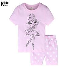 Купить с кэшбэком 2019 summer baby girl clothing set pink children's pajamas cotton dancing girl pattern o-neck pijama set infant sleepwear