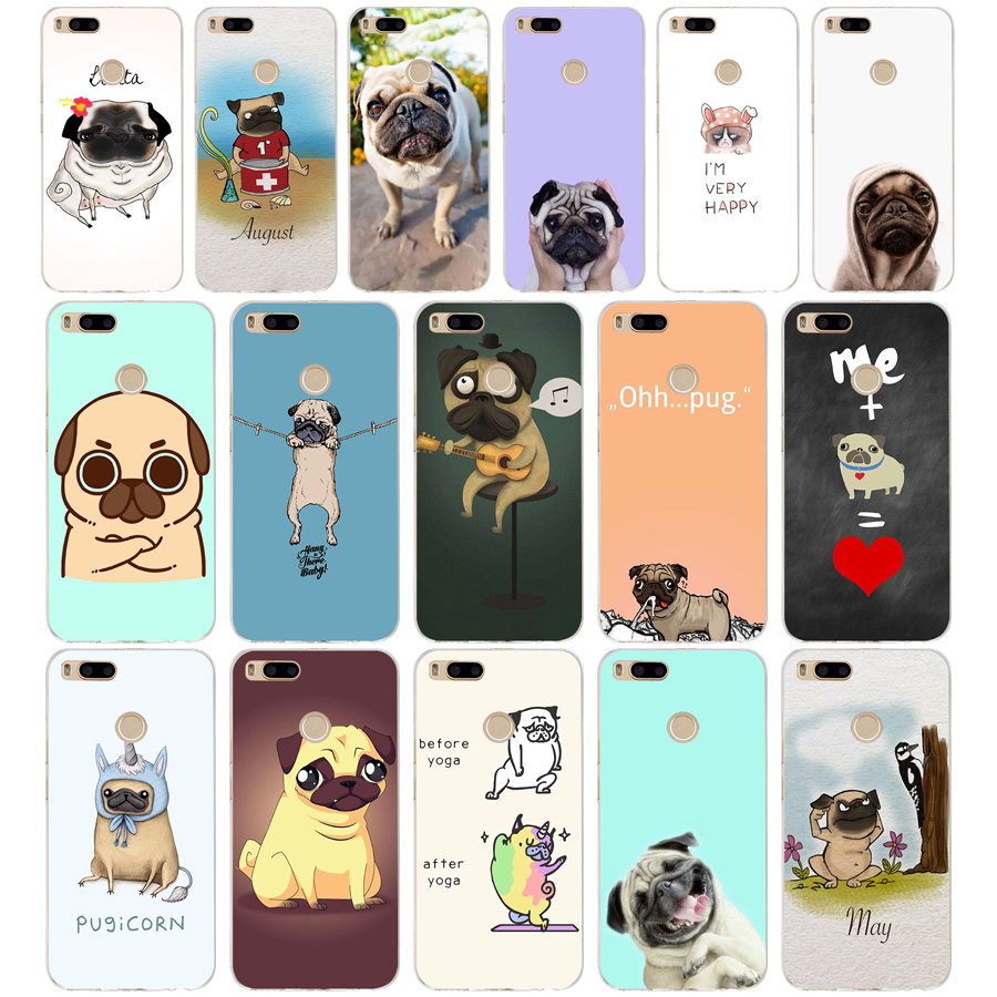 228WE <font><b>pug</b></font> cartoon Soft Silicone Tpu <font><b>Cover</b></font> phone Case for <font><b>xiaomi</b></font> redmi 4A 4X note 4 4x <font><b>mi</b></font> A1 <font><b>A2</b></font> lite image