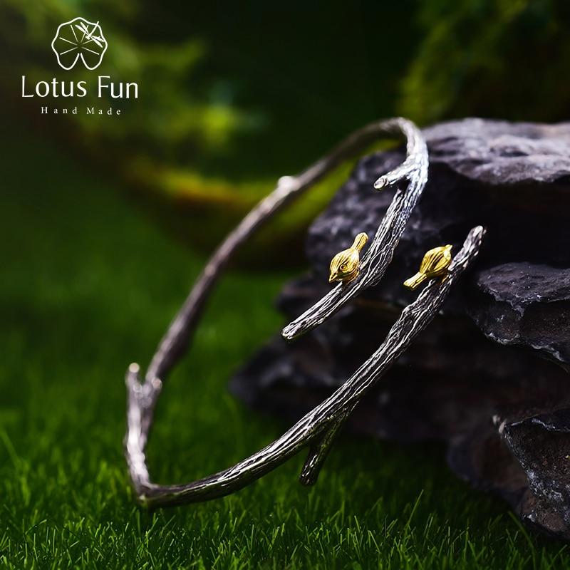 Lotus Fun Real 925 Sterling Silver Natural Original Handmade Fine Jewelry Bird on Branch Adjustable Bangle