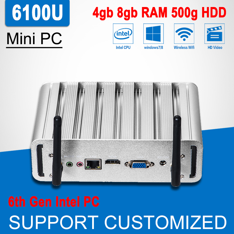 6th Gen Intel Core i3 6100U Mini PC Barebone Windows 10 Linux Mini Office Computer Fanless