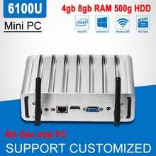 6th Gen Intel Core i3 6100U Мини-ПК Barebone Окна 10 Linux мини-офисный компьютер без вентилятора 300 м Wi-Fi 4 К HTPC игрок