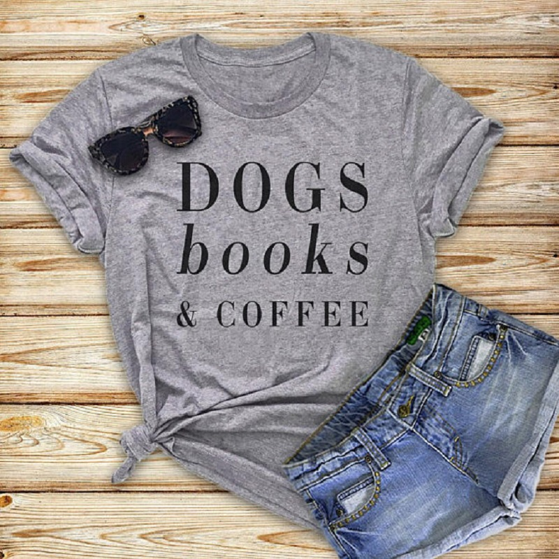 Hillbilly Funny Dogs Book & Coffee Letters Women Vogue Tshirt Plus Size Summer Top Harajuku Vintage Cotton T shirt Women Befree