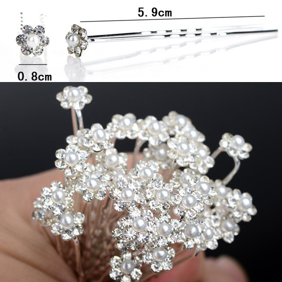 200PCS Wedding Bridal Pearl Flower Hair pin Hair Clips Bridesmaid Hair Accessories Women Jewelry Wholesale Free Shipping
