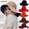 Fashion Vintage Wide-Brim Black Fedoras Felt Hats for Women Bowler Floppy Feminino Sun Hat Ladies Wool Chapeau Femme Cappelli