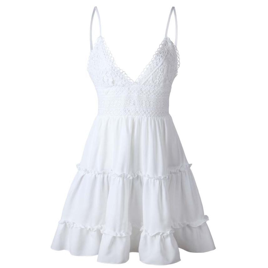 f2f2127c8c8d Women Sexy Bow Backless Dress 2018 Summer Beach Sundress V Neck Yoke Frill  Trim White Lace Dresses Elbise #BF -in Dresses from Women's Clothing on ...