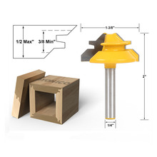 1PC Small Lock Miter Router Bit Anti-kickback 45 degree 1/2 inch Stock Shank Tenon Cutter for Woodworking Tools KF876