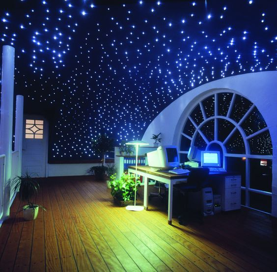 Maykit 50000h 12V DC 16W LED Starry Ceiling Kits Fiber Optic Decoration with 200pcs 0 75mm