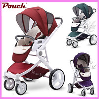 Pouch High Landscape Visiable Umbrella Baby Stroller Two Way Baby Carriage 3 In 1 Portable Lightweight Four Wheels Baby Pram