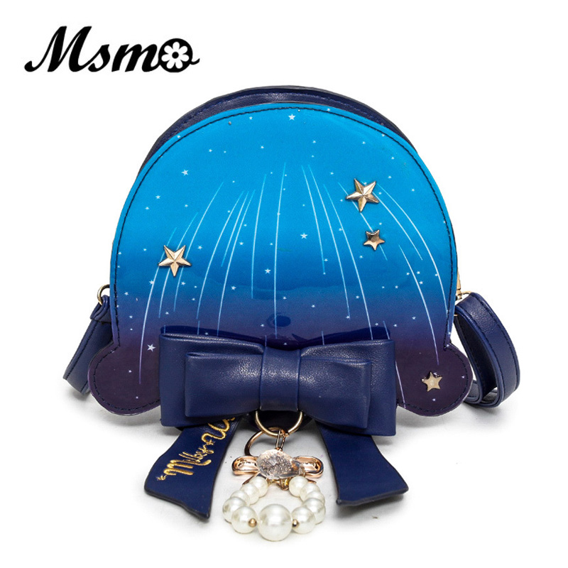 MSMO Pastel Ocean Jellyfish Bag Cute Lolita Girl Marine Blue Bow Pearl Color Shoulder Bag Cross Body Satchel Messenger Handbag ...