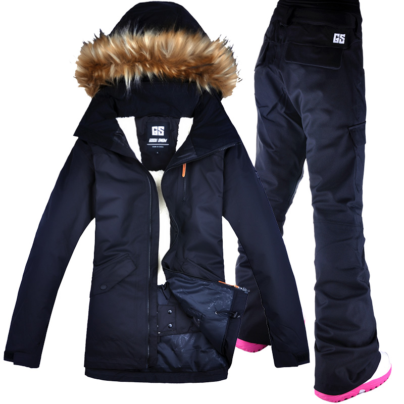 2018 GSOU SNOW Fur Hooded Ski Suit Snowboard Jacket Pant Windproof Waterproof Thicken Thermal Female Winter Outdoor Sport Wear